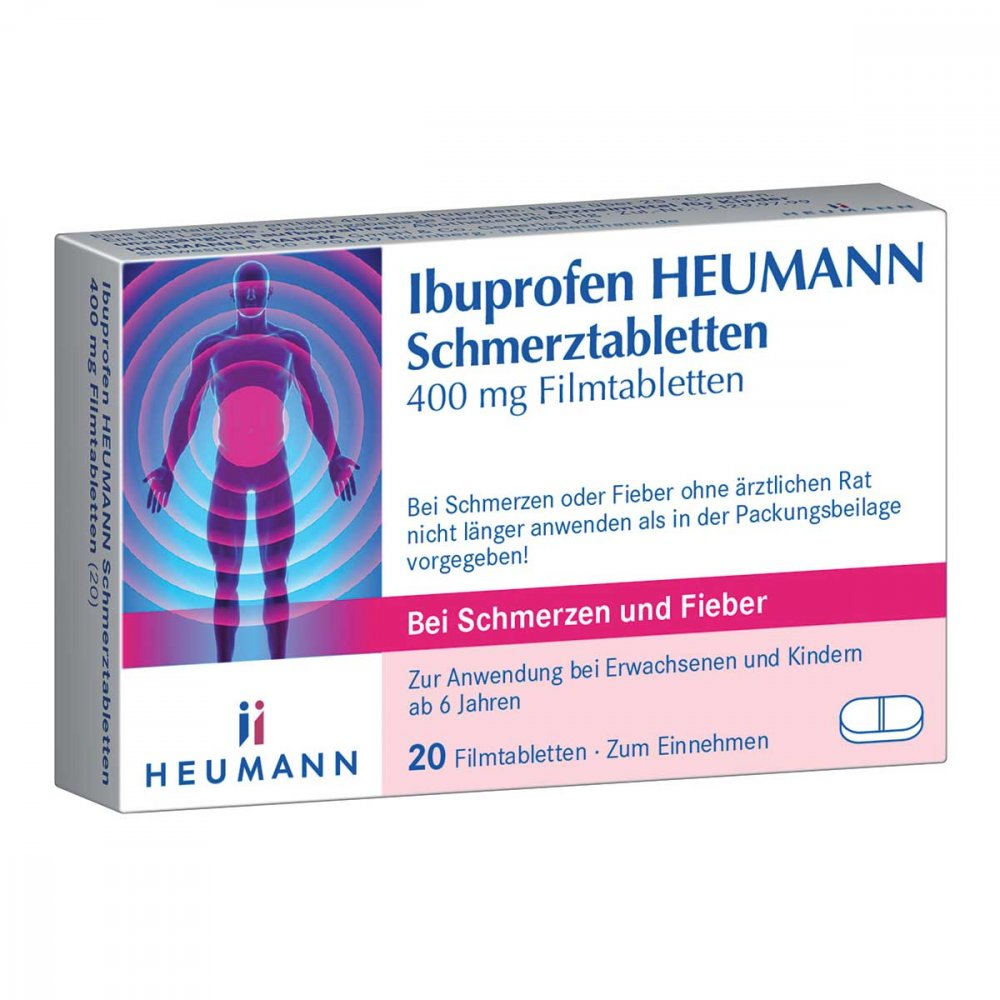 ibuprofen heumann schmerztabletten 400mg 20 stk. Black Bedroom Furniture Sets. Home Design Ideas