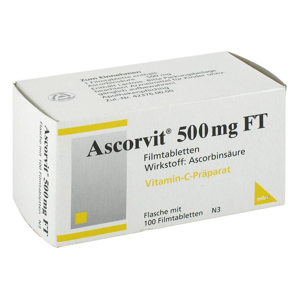 ascorvit 500 mg ft filmtabletten 100 stk ihre g nstige. Black Bedroom Furniture Sets. Home Design Ideas