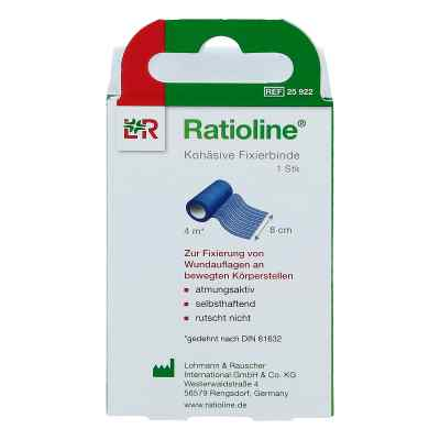 Ratioline acute Fixierbinde kohäsiv 8 cmx4 m blau  bei Apotheke.de bestellen