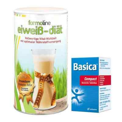 Paket Formoline Eiweiss-Diät Pulver (480 g) + Basica compact Tab  bei Apotheke.de bestellen