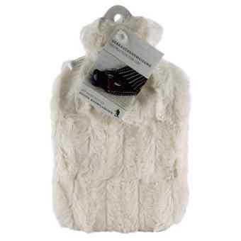 Wärmflasche Klassik 1,8 l Flauschbezug weiss